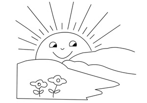 Sunrise Coloring Pages Sketch Page