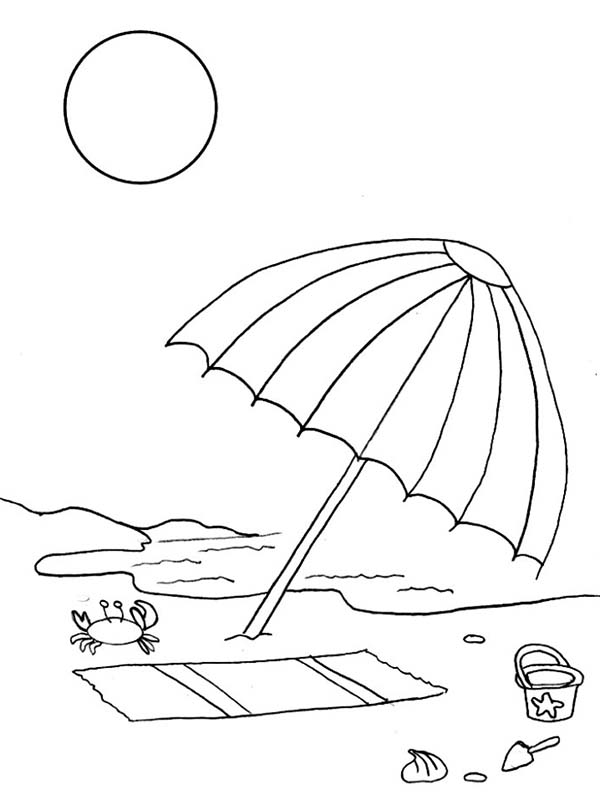 A kids drawing of beach umbrella