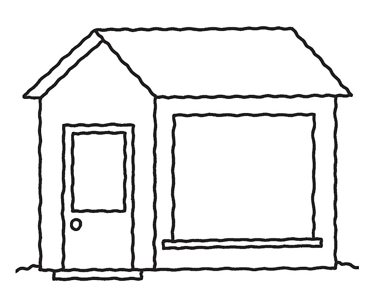 kids drawing of a house rainbow a vector. hill line house. simple ...