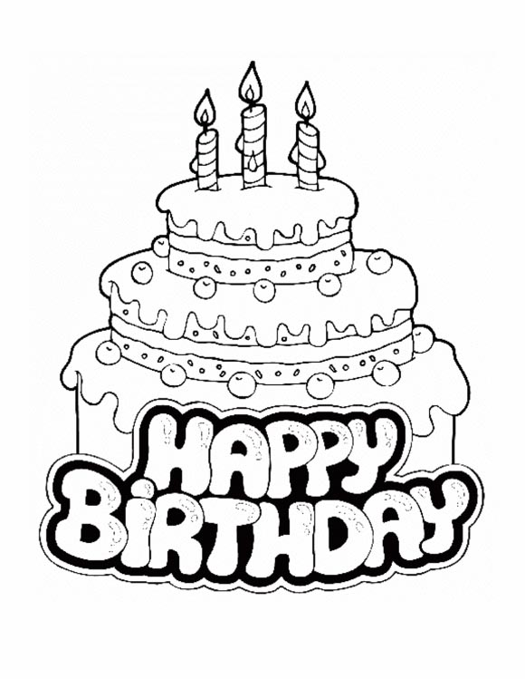 Colorings- Happy Birthday Coloring Cake Drawing